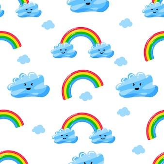 Lindas nubes y patrón transparente de personaje de arco iris