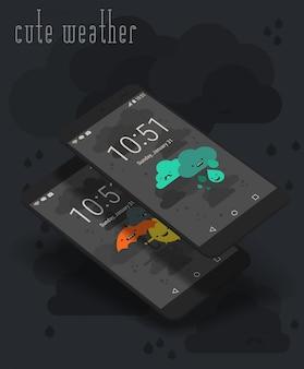 Lindas pantallas de aplicaciones weather moile en maquetas de teléfonos inteligentes en 3d