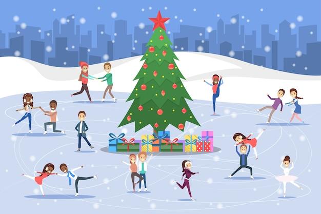 Lindas parejas románticas y patinadores profesionales patinan al aire libre en el hielo. actividad de invierno y deporte profesional alrededor del árbol de navidad. ilustración vectorial plana