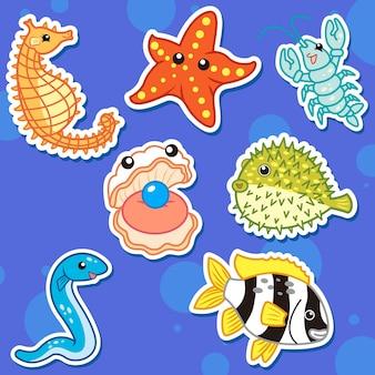 Lindas pegatinas de animales marinos
