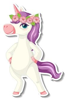 Lindas pegatinas de unicornio con un divertido personaje de dibujos animados de unicornio