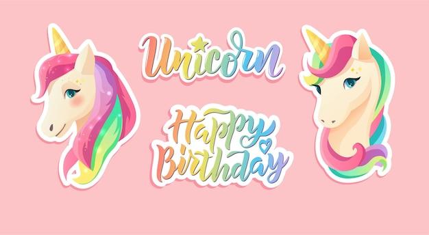 Lindas pegatinas de unicornio en estilo plano. feliz cumpleaños texto de letras a mano.
