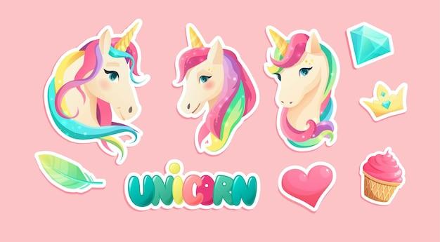 Lindas pegatinas de unicornio en estilo plano