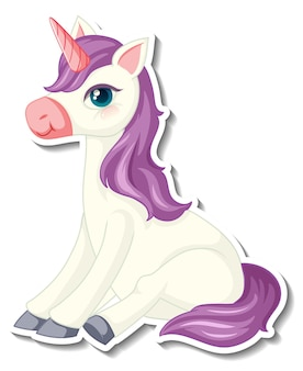 Lindas pegatinas de unicornio con un personaje de dibujos animados de unicornio morado