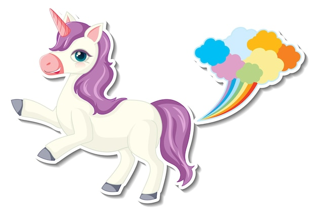 Lindas pegatinas de unicornio con un personaje de dibujos animados de unicornio