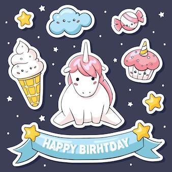 Lindas pegatinas con unicornio rosado en nubes y dulces.
