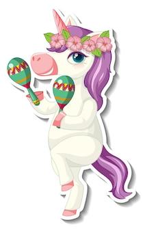 Lindas pegatinas de unicornio con un unicornio jugando a maracus