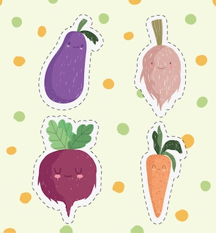 Lindas pegatinas de verduras