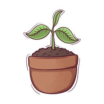 Lindas plantas recién nacidas dibujadas a mano