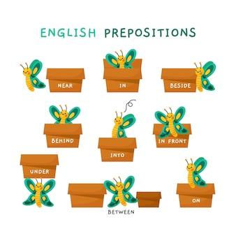 Lindas preposiciones en inglés con mariposas