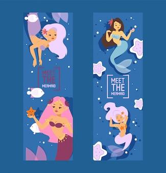 Lindas princesas de sirena con cabello colorido y otros elementos debajo del mar como estrellas de mar, peces y conchas conjunto de pancartas ilustración vectorial para obras de arte para niños