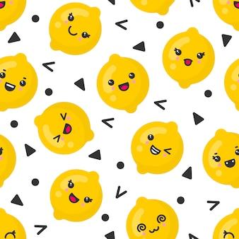 Lindas sonrientes frutas de limón, patrones sin fisuras sobre fondo blanco