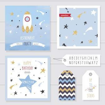 Lindas tarjetas e insignias con brillo de confeti dorado para niños.