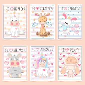 Lindas tarjetas de felicitación para niños con animales
