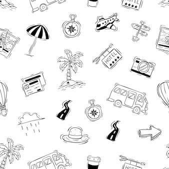 Lindas vacaciones o viajes doodle elementos en patrones sin fisuras