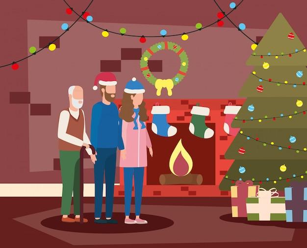 Lindo abuelo con pareja joven con sombrero de navidad