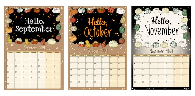 Lindo y acogedor higge 2019 planificador de calendario de otoño con decoración de calabazas, septiembre, octubre, noviembre