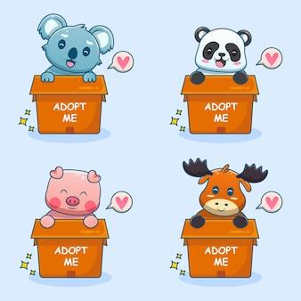 Lindo adopteme mascota conjunto de dibujos animados