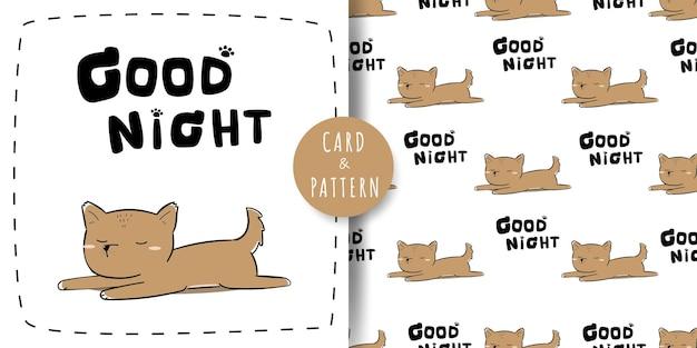 Lindo adorable cachorro de perro durmiendo tarjeta de doodle de dibujos animados y paquete de patrones sin fisuras