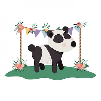 Lindo y adorable panda con marco floral
