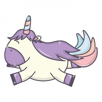 Lindo adorable personaje de hadas unicornio