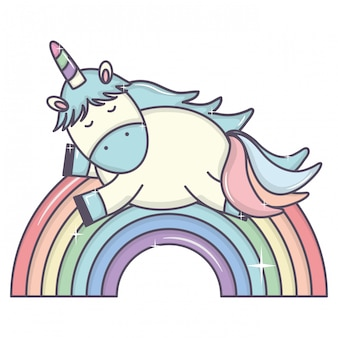 Lindo adorable unicornio y arcoiris