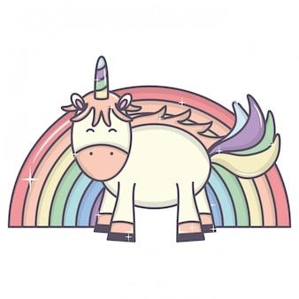 Lindo adorable unicornio y arcoiris