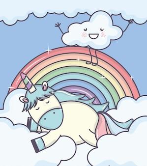 Lindo adorable unicornio con nubes y arcoiris