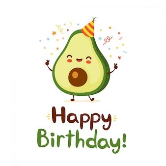 Lindo aguacate gracioso. feliz cumpleaños tarjeta de estilo dibujado a mano. diseño de icono de ilustración de personaje de dibujos animados plana. aislado