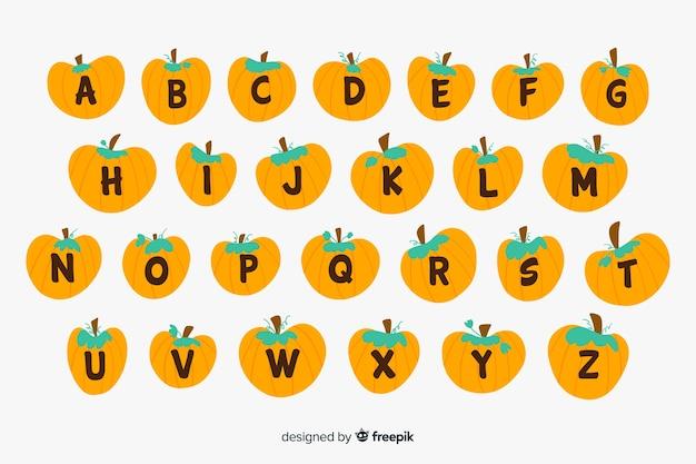 Lindo alfabeto de calabaza de halloween