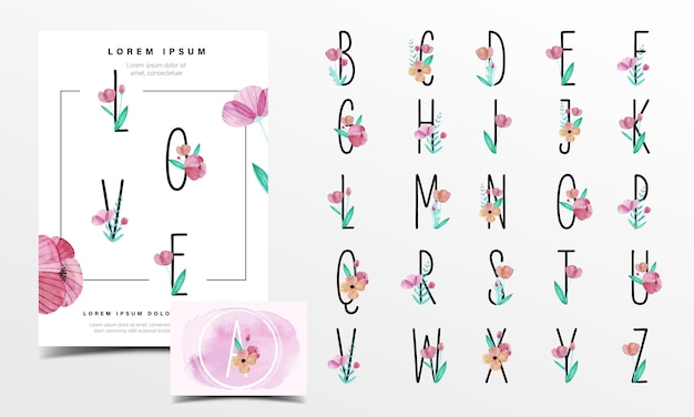 Lindo alfabeto decorado con flores en estilo acuarela
