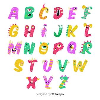 Lindo alfabeto de monstruo de halloween animado sobre fondo blanco