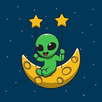 Lindo alienígena jugando columpio en la ilustración de dibujos animados de la luna