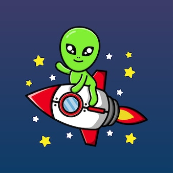 Lindo alienígena montando cohete y agitando la mano ilustración de dibujos animados