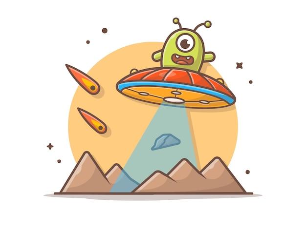 Lindo alienígena volando en el planeta con ovnis y meteoritos ilustración