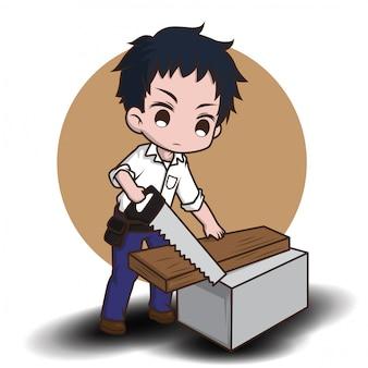 Lindo amigable carpintero