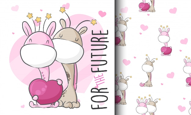 Lindo amor pareja jirafa de patrones sin fisuras ilustración infantil