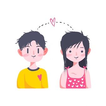 Lindo amor de san valentín pareja doodle