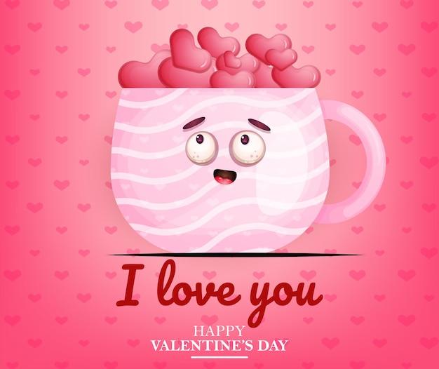 Lindo amor de san valentín en taza rosa