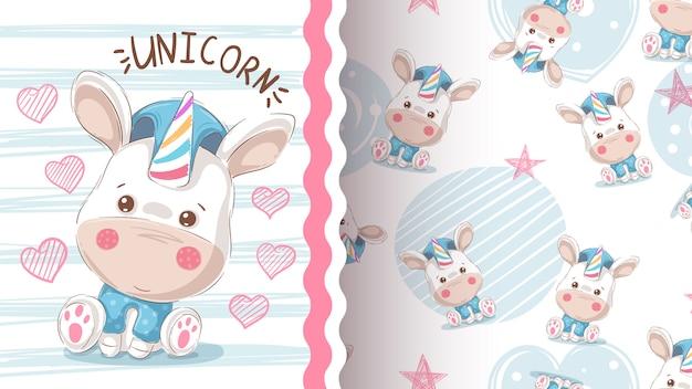 Lindo amor unicornio - patrón transparente