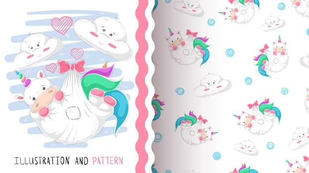Lindo amor unicornio de patrones sin fisuras