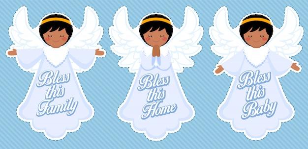 Lindo ángel de bendición, decoración de bebé afro boy