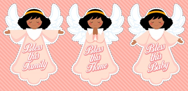 Lindo ángel de bendición, decoración de bebé afro niña