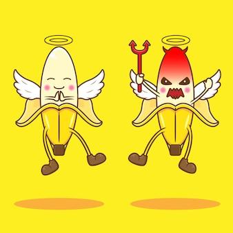 Lindo ángel y diablo de plátano