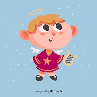 Lindo ángel de navidad con diseño plano