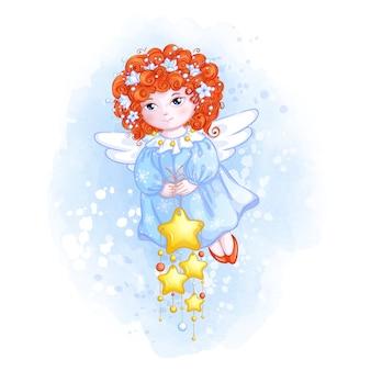 Lindo ángel de navidad con pelo rojo rizado y adornos de estrellas.