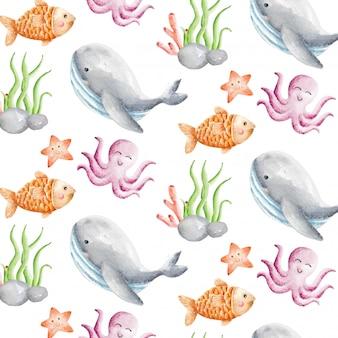Lindo animal agua acuarela de patrones sin fisuras