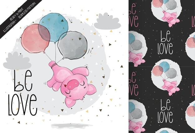 Lindo animal bebé cerdo feliz volando con globos de patrones sin fisuras