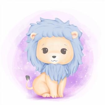 Lindo animal bebé león encantador