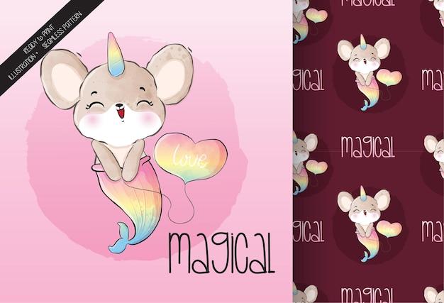 Lindo animal bebé ratón unicornio de patrones sin fisuras